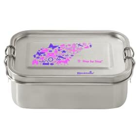 Lunchbox aus Edelstahl, auslaufsichere und umweltfreundliche Brotdose mit Fächern, BPA-frei, spülmaschinengeeignet, geschmacksneutral, Purple & Rose