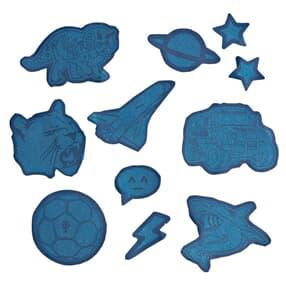 Aufkleber-Set, reflektierend und wasserfest, selbstklebende Textilsticker, Blau