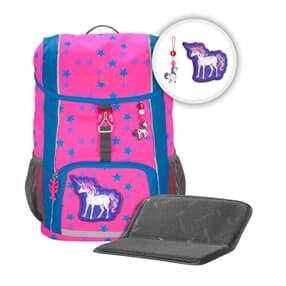 """Rucksack-Set """"KID NEON"""", Colorful Unicorn, mit Sitzkissen"""