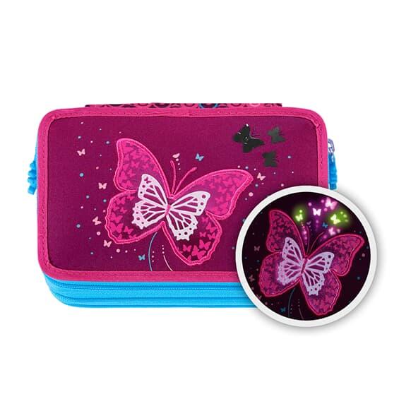 XXL-Mäppchen FLASH,  Shiny Butterfly, 43-teilig, mit Leuchteffekt