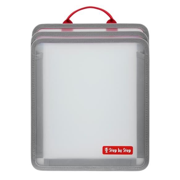 Faltbare Heftbox, platzsparend, Rot/Transparent