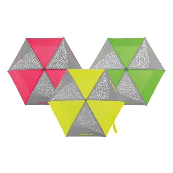 Regenschirm mit reflektierenden Elementen in  leuchtenden Neonfarben